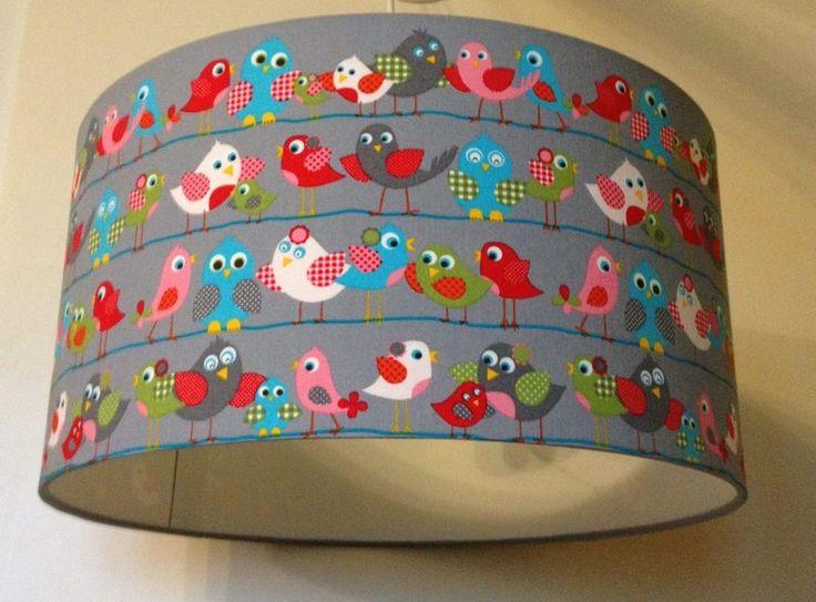 XL Pendellampe Vögel, Kinderlampe, Lampenschirm von Kinderlampenwelt auf DaWanda.com