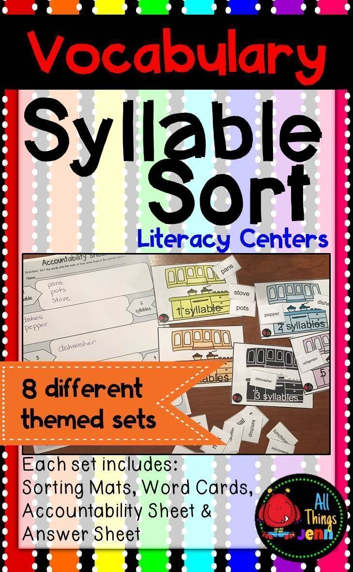 Help your students learn how to divide words into syllables while practicing category specific VOCABULARY words with this fun SYLLABLE SORT!