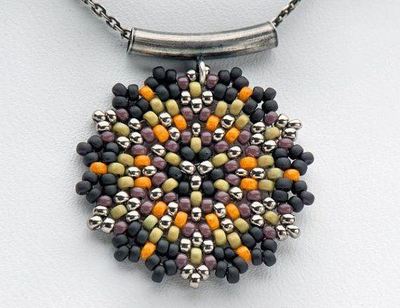 Beadwoven Single Mandala Necklace / Japanese par littlemusedesigns, $40.00