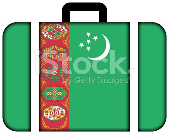 Suitcase with Turkmenistan Flag royalty-free stock photo