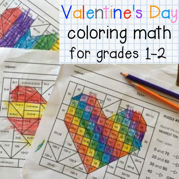 Bright coloring math for Valentine's Day. Grades 1-2.