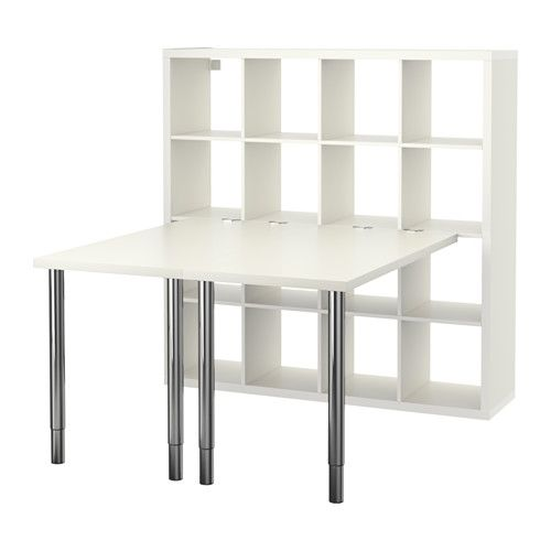 IKEA - KALLAX, Workstation, white, , You can choose the height of your work surface, between 26 3/8-42 1/8 Dual work stations!  One for me...and one for @taylorwillett16