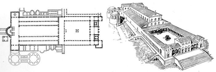 Planta de la primitiva Basílica de San Pedro de Roma en la Colina Vaticana.