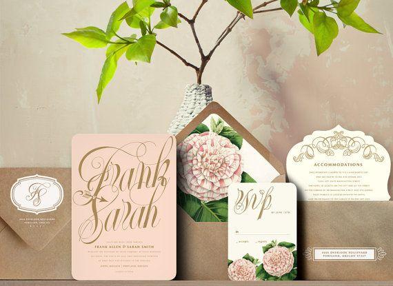 Pink and Gold Script Flower Garden Wedding Invitation Suite – Gold and Pink Wedding Invitations