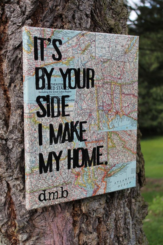 """Amazing and one of a kind wedding gift.  Also perfect for deployed military families.  Love this song.  11x14 """"Loving Wings"""" lyrics by Dave Matthews.  Hand stamped lyrics over Vintage National Geo map pieces from all over the world. Created by Houseof3,"""