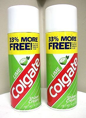 Lot 2 Colgate Palmolive Lime Shave Cream 14.75 Oz Thick Rich Lather