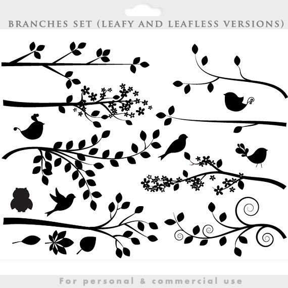 Branch silhouette clipart - tree clip art silouette whimsical, cute, branches, birds, bird, leaves, leaf, decorative personal commercial use