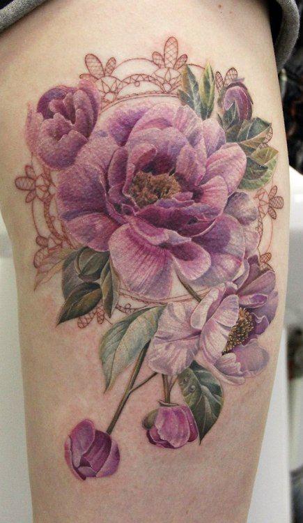 No Black Line Rose tattoo