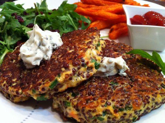 Red Quinoa Cakes Recipe >>good vegetarian alternative to soy burgers