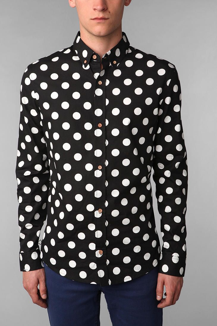 Your Neighbors Mod Polka Dot Shirt #UrbanOutfitters men in printed shirts :-) <3