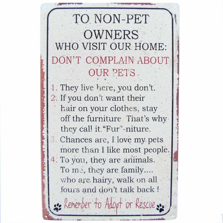 Pet Owner Home Rules For Non Owners Funny Metal Sign Four -3946