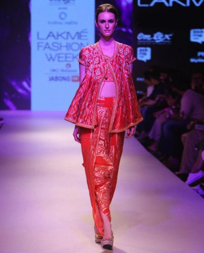 Krishna Mehta LFW AW15 Off The Runway on Exclusively.com (Crimson Red Woven Dhoti and Kurta)