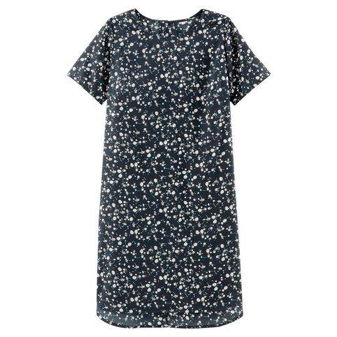 Robe housse manches courtes imprimée femme - Imprimé bleu marine- Vue 3