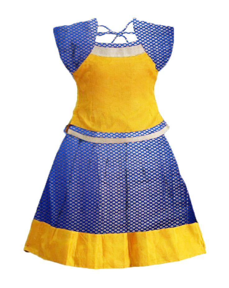 #readymadePattupavadai #kidspattupavadai blue with yellow Pattu pavadai