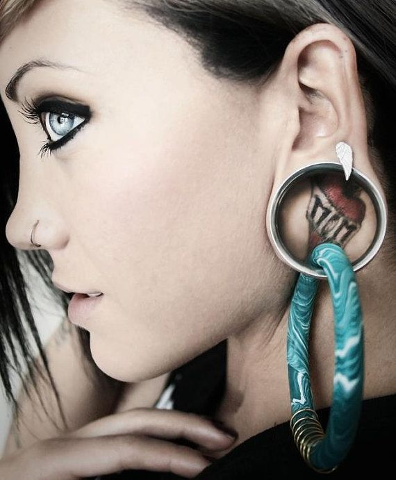 Items Similar To Coil Closure Hoops Earrings For Stretched Lobes Gauges On Etsy