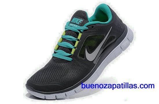 Mujer Nike Free Run 3 Zapatillas (color : vamp - negro , en el interior - azul , logotipo - gris ; sole - blanco)