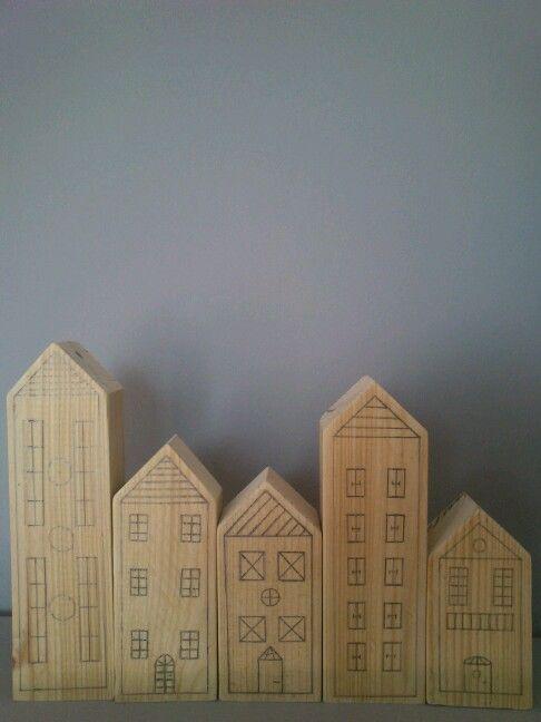 Μy super easy DIY wooden houses drawn with a HB pencil.All you need is .....inspiration!!!!!