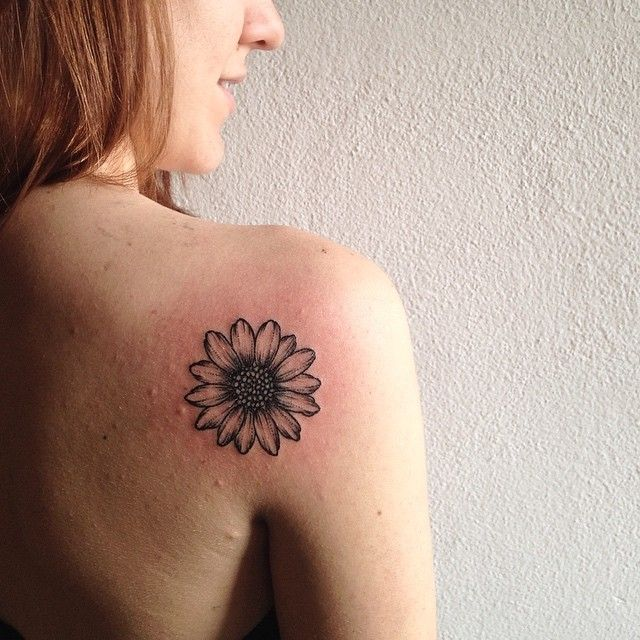 Daisy / Sunflower black outline tattoo