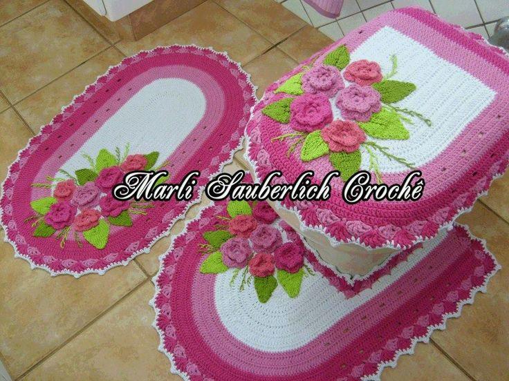 Juegos De Baño A Gancho:Tejidos De Crochet Para Bano