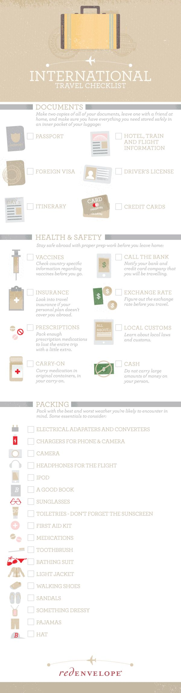 International Travel Checklist   #infographic #Travel #Checklist