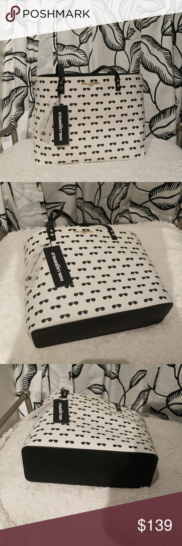 Karl Lagerfeld sunglass tote Karl Lagerfeld black and white tote. NWT  14 in (Width) x 10 in (Height) x 5 in (Depth)  Handles are 11 inches drop. Fit shoulders comfortably. Karl Lagerfeld Bags Totes