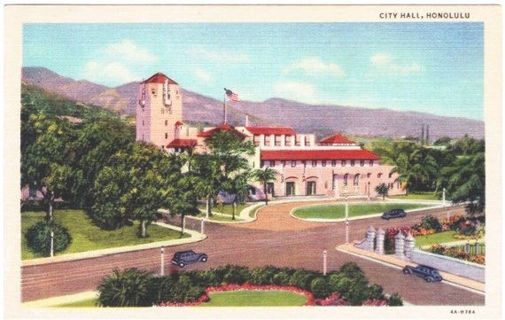 Vintage Hawaii Postcard  Honolulu Hale Unused by VintagePlum, $4.00