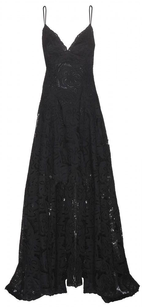 floor length black lace gown ♥