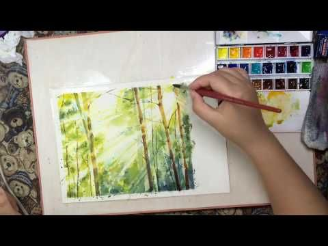 ❤Watercolor Landscape Tutorial《Morning forest》水彩風景教程《樹林晨光》@娜Naland - YouTube