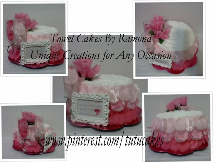 Beautiful pink ombre 1 tier towel cake, with champagne glasses, rose floral, loose flower petals, Victorian picture frame, resting on a hot pink scalloped charger plate. This one is sold, but it can be recreated in your desired color. in box me for details.