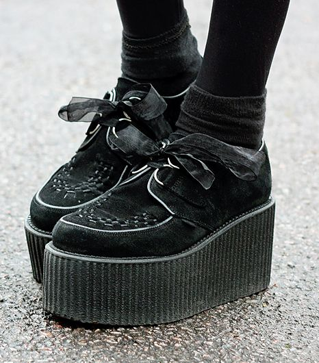 @Alexandra M What Wear - Creepers                 Your style: A touch of punk, goth, or hipster. Take your pick. Your catchphrase: Creepin' it real.  Shop The Look: Underground Wulfrun Creeper ($275)