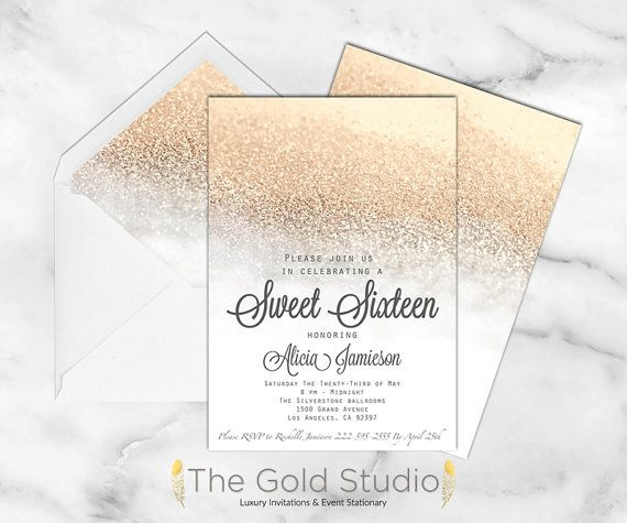White and Gold Sweet 16 Sixteen Invitation. Elegant gold Glitter modern…