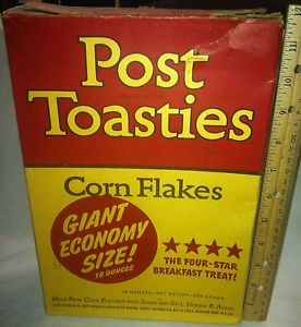 old cereal boxes | VINTAGE CEREAL BOX: POST TOASTIES CORN FLAKES ECONOMY GENERAL FOODS ...