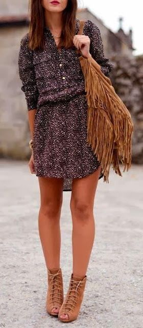 Love the fringe leather bag...cute dress and sandals.