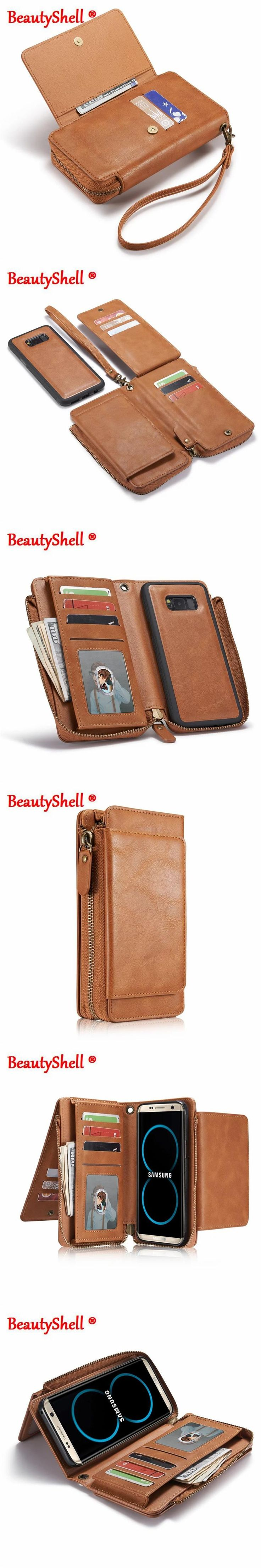 Multifunction Wallet Leather Case For Samsung S8 S8 Plus S5 S6 S7 edge Zipper Purse Pouch Cases Lady Women Handbag Style Cover