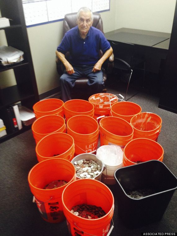 Company Allegedly Pays Elderly Man With Buckets And Buckets Of Coins