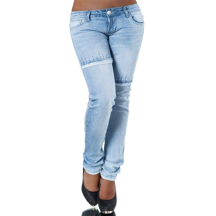 H118 Damen Jeans Hose Hüfthose Damenjeans Hüftjeans Röhrenjeans Gerades Bein, Größen:32 (Etikett 34)