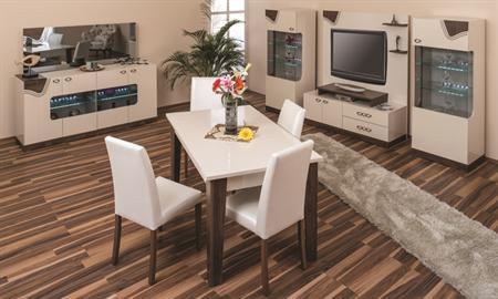 -Haldaş yemek odası takımı içerisindeki parçalar, 2 adet tekli büfe, konsol, konsol aynası, tv ünitesi, açılır masa ve 6 sandalyedir . -Takım parçalarının tümü de-mjontedir. Kolay takılıp, sökülür.
