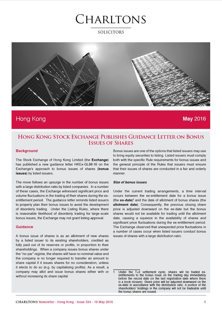 Hong Kong Law Newsletter - 16 May 2016 - Hong Kong Stock Exchange Publishes Guidance Letter on Bonus Issues of Shares