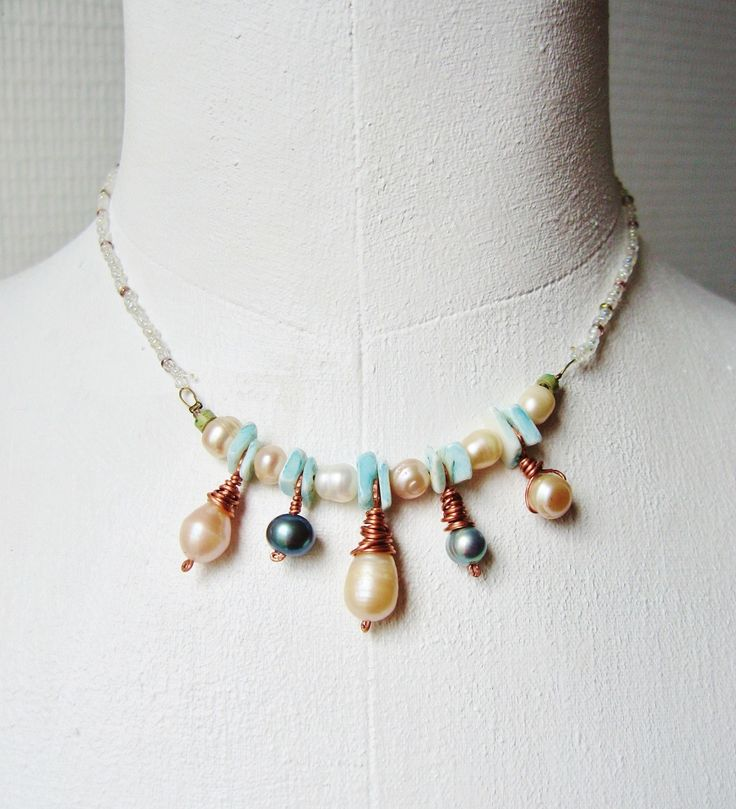 Collier bohème chic en perles d'eau douce par patynett