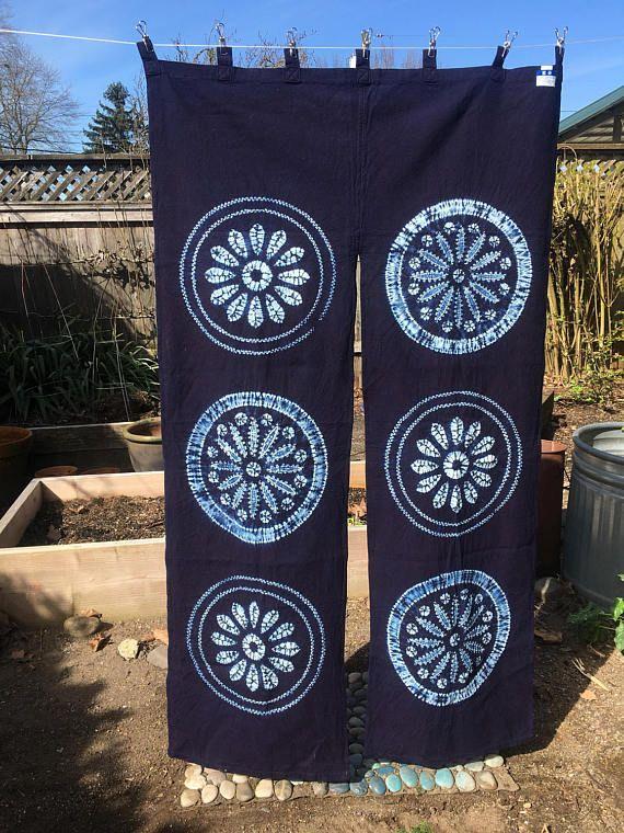 Vintage Japanese Imported Shibori Noren Curtain