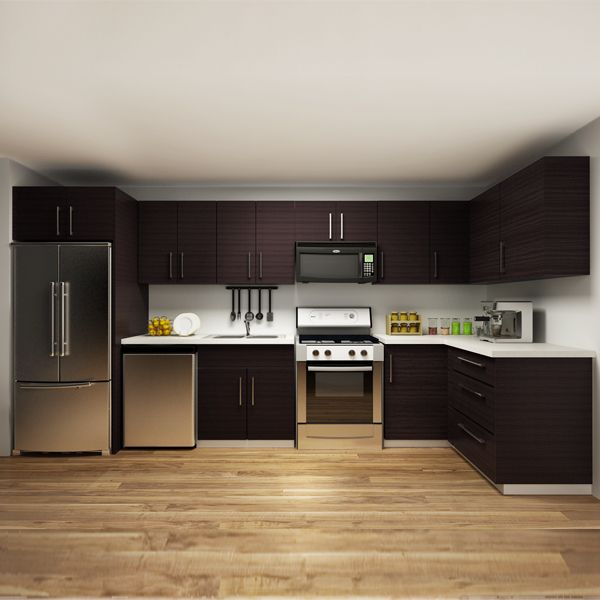 kitchen cabinets, melamine, L-shape, OP14-M01