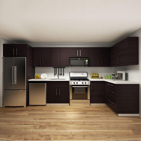 kitchen cabinets, melamine, L-shape, OP14-M01