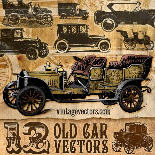 vector art of 12 antique car vectors coaches gangster gatsby automobiles