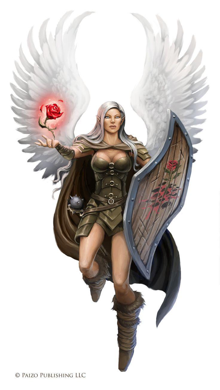 Female Aasimar Cleric - Pathfinder PFRPG DND D&D d20 fantasy