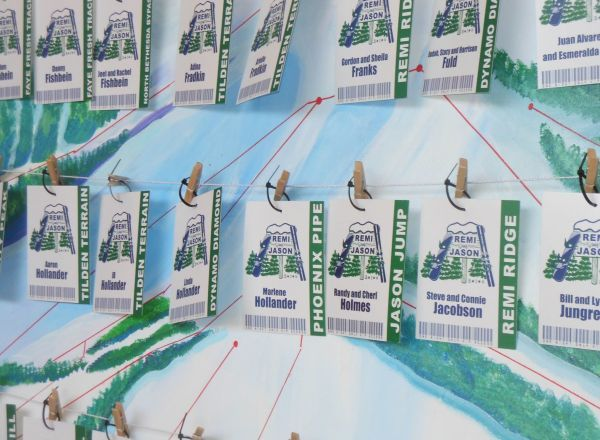 Ski Lift Ticket Escort Cards by Party Favorites for a winter themed B'nai Mitzvah celebration