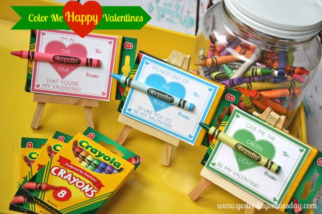 Freebie: Color Me HAPPY Valentines by Printabelle for Yesterday on Tuesday #valentines #freevalentines #valentinesday #crayons #yesterdayontuesday