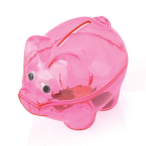 Pink Piggy banks are the perfect way for kids to save up their money. Teach kids the value of money by encouraging them to save for what they want. Piggy bank party favors are always a big hit. Party favors you can bank on. Banks are always a bit...