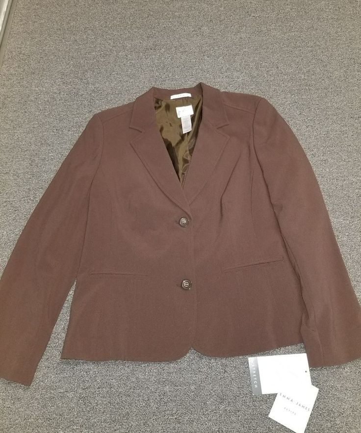 Ladies NWT Emma James Petite Brown Buttoned Lined Blazer Size 16P #EmmaJames #Blazer