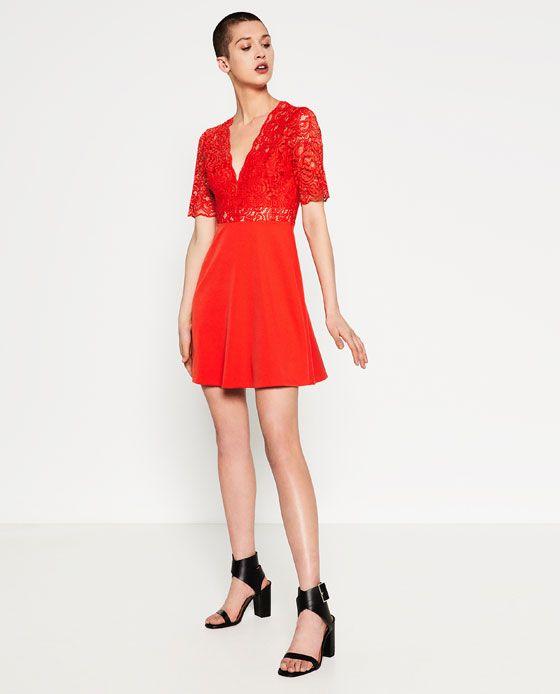 Zara femme robe rouge