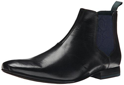Ted Baker Men's Hourb Chelsea Boot. Leather Chelsea boot with tapered toe featuring dual paisley-printed elastic side goring and easy-on heel pull.